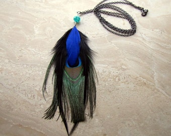 Peacock Feather Necklace - Long Gunmetal Chain Necklace - Midnight