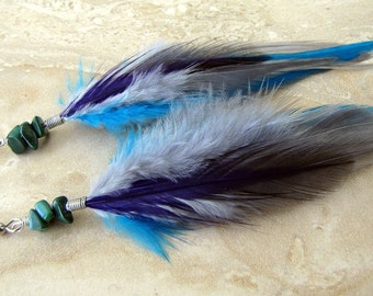 Colorful Feather Earrings - Beaded Feather Earrings, Purple, Gray and Turquoise - Galaxy