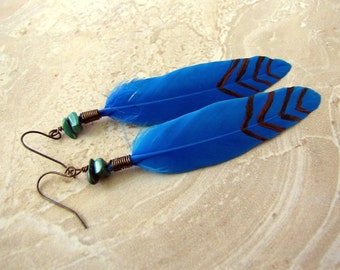 Feather Earrings - Blue Feathers, Painted Tribal Print Earrings - Turquoise Arrows