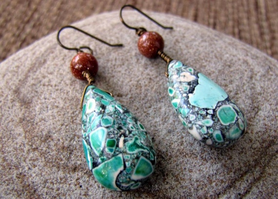 Earth and Sky - Magnesite and Goldstone Beaded Earrings