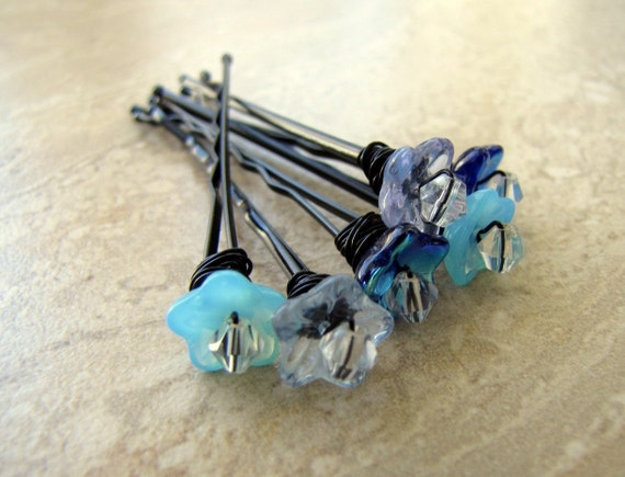 Beaded Bobby Pins - Blue Flowers and Crystals - Set of 5