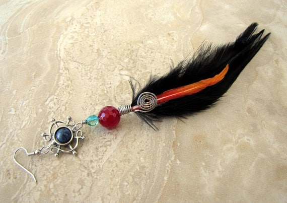CIJ SALE 25% OFF - Feather Earring - Long Single Earring - Midnight Flame (Ready to Ship)
