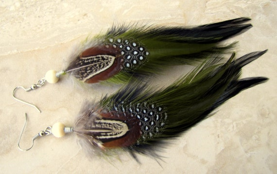 Feather Earrings - Green, Brown and Black Feathers, Fall Colors - Mossy Wood