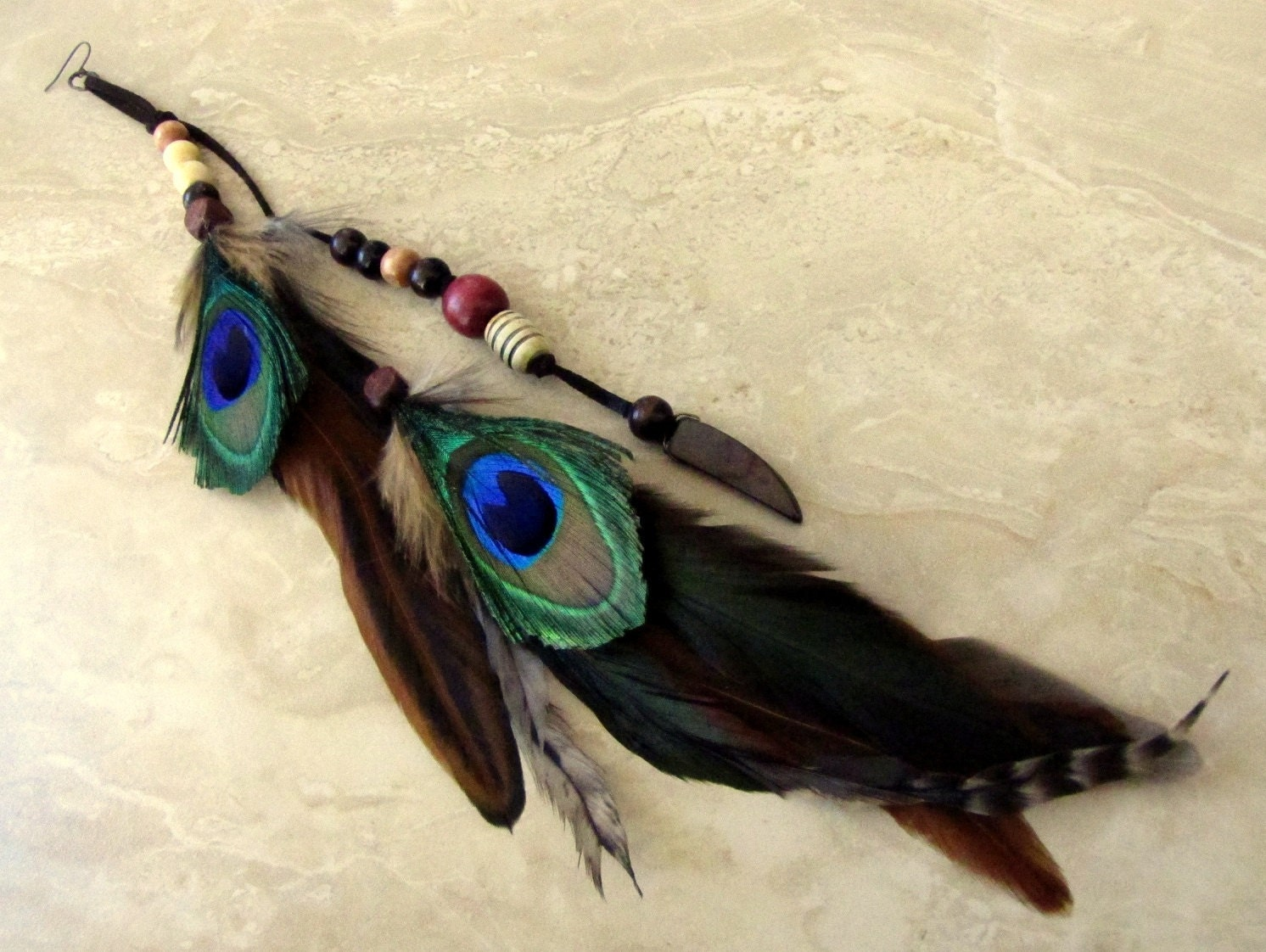 Peacock Feather Earring Extra Long Single by peacefrogdesigns
