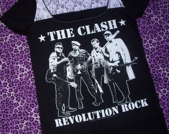 The Clash Women's T-Shirt // Reconstructed T-Shirt // Size Small // Punk Black White Lace