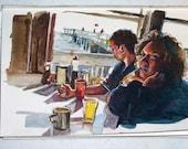 Beach Diner Watercolor