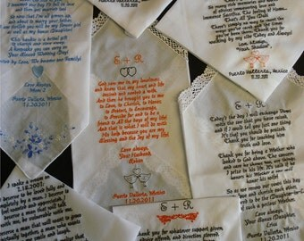 7 Wedding poem Handkerchief - FREE SHIPPING - mix and match handkerchiefs each with your poem machine embroidered on it.