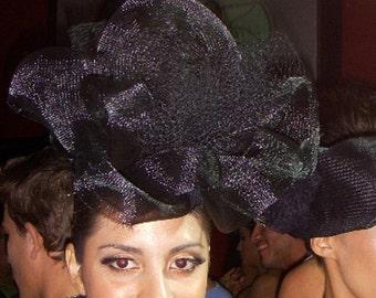 Delila-Black Netting Headress