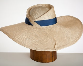 """Elegant Large Brimmed Hand Sculpted Summer Sisal Straw Hat for Women Derby/Ascot """"Gatsby"""""""