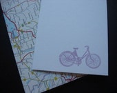 Bicycle cards with map envelopes--set of 8