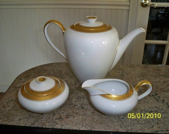 26 Piece Set // KPM German Porcelain Tea or Coffee or Chocolate Set // Vintage // Teapot and Teacups and Cream and Sugar and Tray