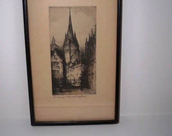 Etching of Oxford / St. Mary Church at Oxford England