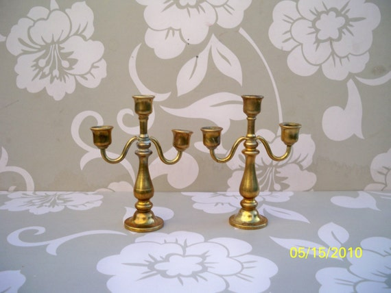 Free Shipping / salesman's model /Antique Miniature Brass Candelabras //  Pair of Antique Candelabras for the Dollhouse