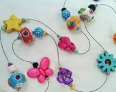 RESERVED for BocaButterfly ... Brightly Colored Wire Necklace and Girl's Turquoise Butterfly Necklace