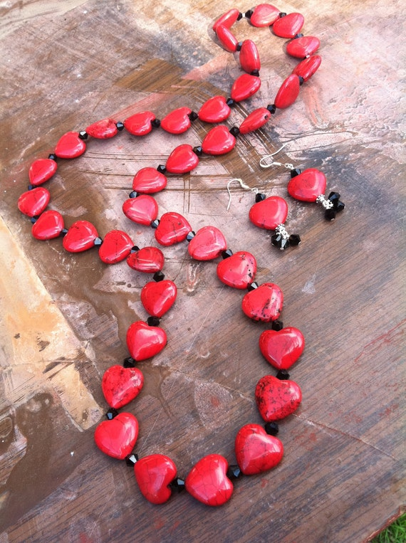 RESERVED Long Red Heart and Black Crystal Necklace and Earrings