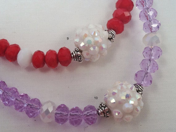 Little Girl Necklace with Focal Bead and Crystals