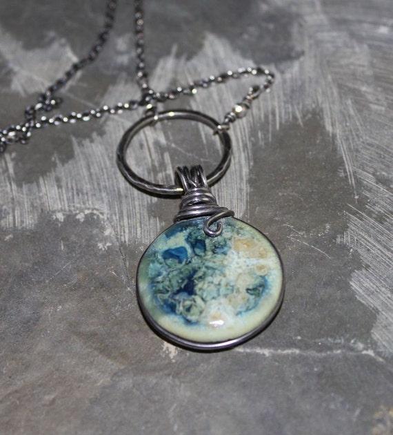 Fine Silver and Porcelain Pendant Necklace-Ocean