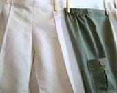 Sandbox Pants - Wide Leg, Flat Front Trousers - Sewing Pattern, PDF Tutorial (sizes 6m, 9m, 12m, 18m, 2T, 3T)