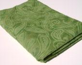 Olive Green Paisley Micro Fleece Fabric
