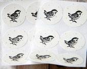 Birdie Stickers Envelope Seals on Grungy Cream Dots Set of 12
