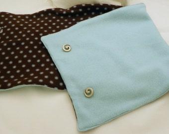 REVERSIBLE Brown Turquoise Polka Dot Fleece Cowl / Neckwarmer / Scarflette
