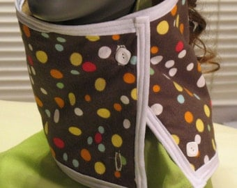 REVERSIBLE Brown Polka Dot Flannel / Gold Fleece Cowl / Neckwarmer / Scarflette