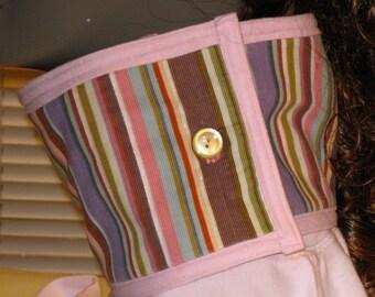REVERSIBLE Stripe Corduroy / Pink Fleece Cowl / Neckwarmer / Scarflette