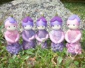 needle felted heliotrope lavender purple flower fairies in pure wool