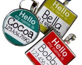 "The Original ""Hello My Name Is"" Silver Pet ID Tag -As Seen In Modern Dog Magazine"