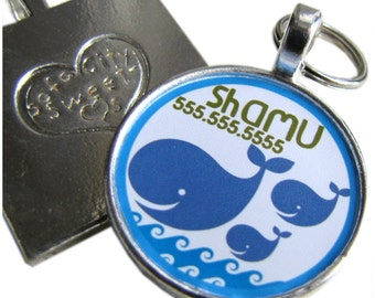 Blue Whales Personalized Dog ID Pet Tag Custom Pet Tag You Choose Tag Size & Colors