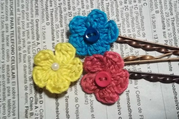 Crochet Hair Using Bobby Pin : Crochet flower bobby pins Hair Accessories by CrochetnMoreByAlida