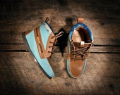 Handcrafted HIGHTOP  Leather Boat Shoes - Teal and Tan with Aqua Pendleton detail and liner. MADE to ORDER