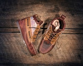 Handcrafted HIGHTOP Leather Boat Shoes - Purple, Maroon, and Southwest Style Print - Etched Eagle - MADE to ORDER