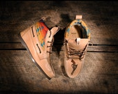 Handcrafted HIGHTOP Leather Boat Shoes - Vegetable tanned w/ Teal Pendleton detail & etched pistols - MADE to ORDER