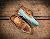 Teal & Brown Leather Boat Shoes with etched eagle - Southwest style Pendleton fabric lined - MADE TO ORDER