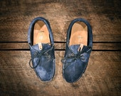 "Acid Blue ""Westsiders"" - Custom Handcrafted Blue and White Acid Washed Leather Boat Shoes - MADE TO ORDER"