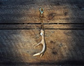 Shed White Tail Deer Antler Keychain with Elegant White Leather Knot and Chunky Brass Chain