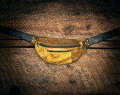 Acid washed handcrafted leather (lambskin) fanny pack - yellow and black - hand cut, sewn, and riveted.