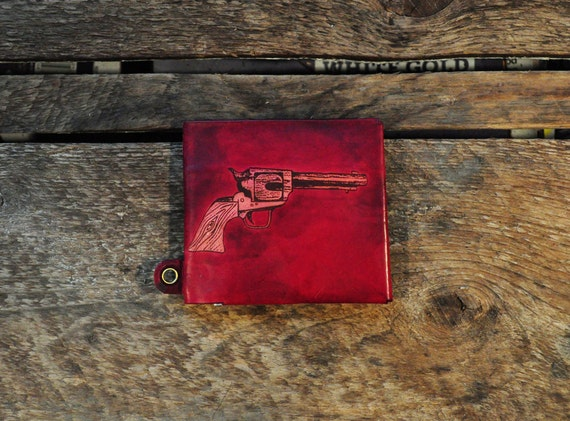 Handcrafted Wallet - Red Revolver - with or without wallet chain eyelet