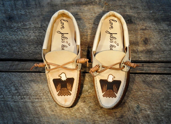 Handcrafted Leather Boat Shoes - Southwest Eagle - Tan and light brown - MADE TO ORDER