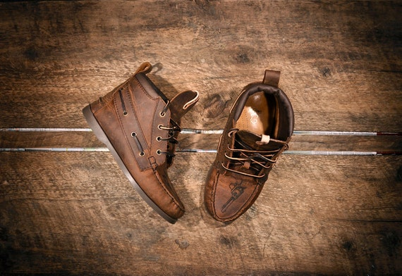 Custom for Mikey - 2 pairs of Handcrafted HIGHTOP Leather Boat Shoes - Distressed Oiled Brown Cowhide & All White Deerskin