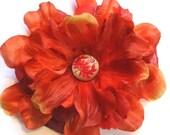 Trunk Show Sale Burnt Orange Silk Flower Hair Clip (FREE SHIPPING)