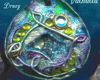 VALHALLA/ Viking/ Norse/ Yggdrasil /Tree of Life/ Enhanced Titanium Druzy Pendant/ Pendulum/ Enchanted Portal Gems(tm)/ Copper/ Jewelry Box