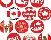 Oh Canada Day Digital Collage Sheet - 2 Inch Circles for Cupcake Toppers etc. - Instant Download