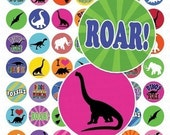 Dinosaurs Rule Digital Collage Sheet - 1 Inch for Bottle Caps - Instant Download