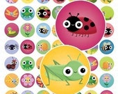 Cute Springtime Critters and Bugs Digital Collage Sheet - 1 Inch Round Circles - Instant Download