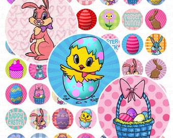 Happy Easter Digital Collage Sheet - 1 Inch Circles - Instant Download