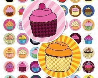 Colorful Cupcake Collection Digital Collage Sheet - 1 Inch Bottle Cap Images - Instant Download