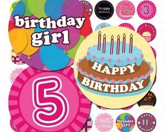 Birthday Girl Digital Collage Sheet - 1 Inch Rounds for Bottle Caps and More - Instant Download