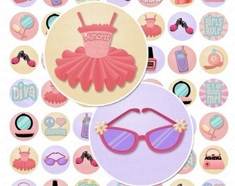 Diva Princess Digital Collage Sheet - 1 Inch Round Circles - Instant Download